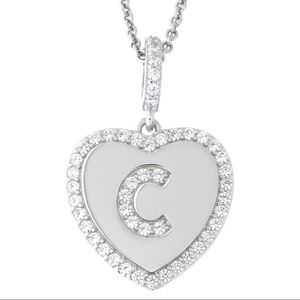 Letter C Initial Heart CZ Pendant Sterling Silver